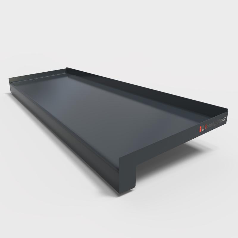 Venkovní parapet hliník ohýbaný 110 mm, tl. 0,8 mm, nos 25 mm, Antracitový RAL 7016