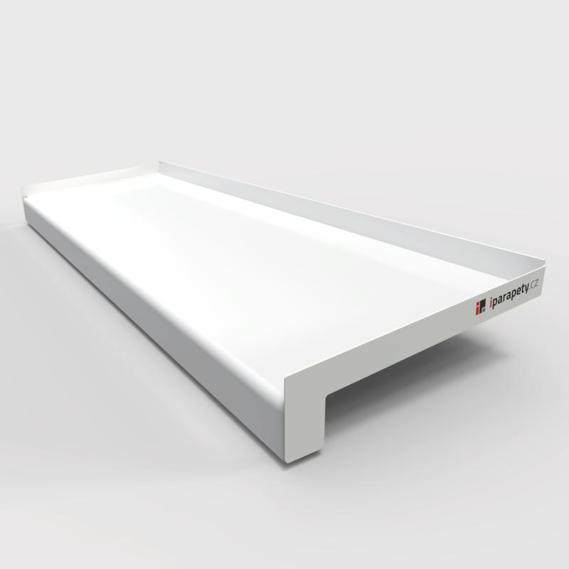 Venkovní parapet pozink s nosem 150 mm, tl. 0,55 mm, nos 25 mm, Bílý RAL 9016