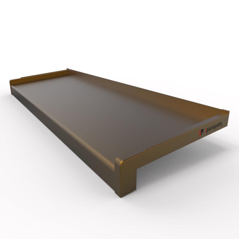 Venkovní parapet hliník tažený 50 mm, tl. 1,2 - 2,8 mm, nos 40 mm, Elox Bronz
