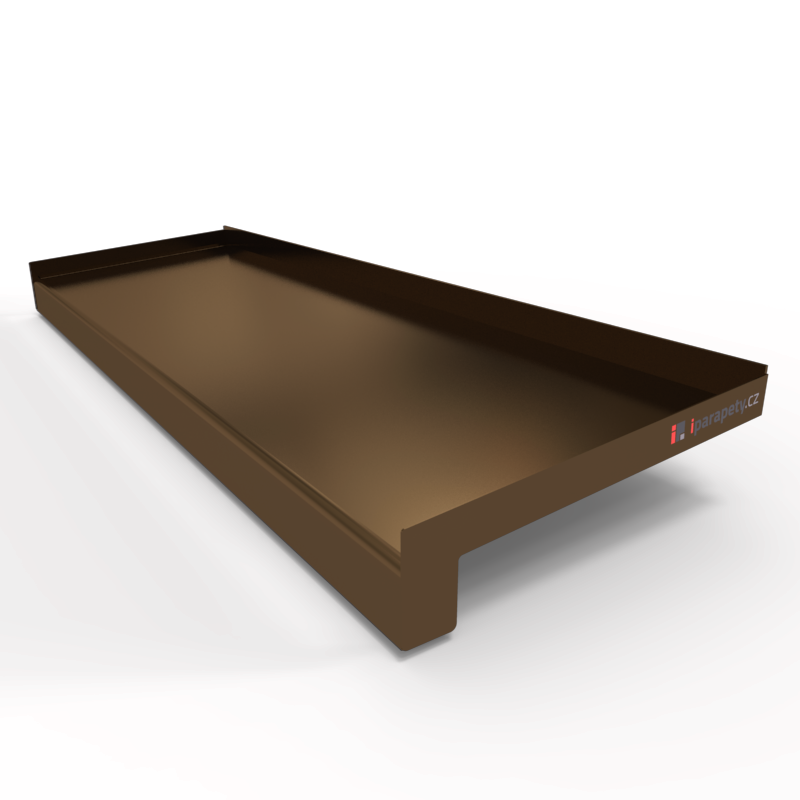 Venkovní parapet hliník ohýbaný 110 mm, tl. 1 mm, nos 25 mm, Bronz
