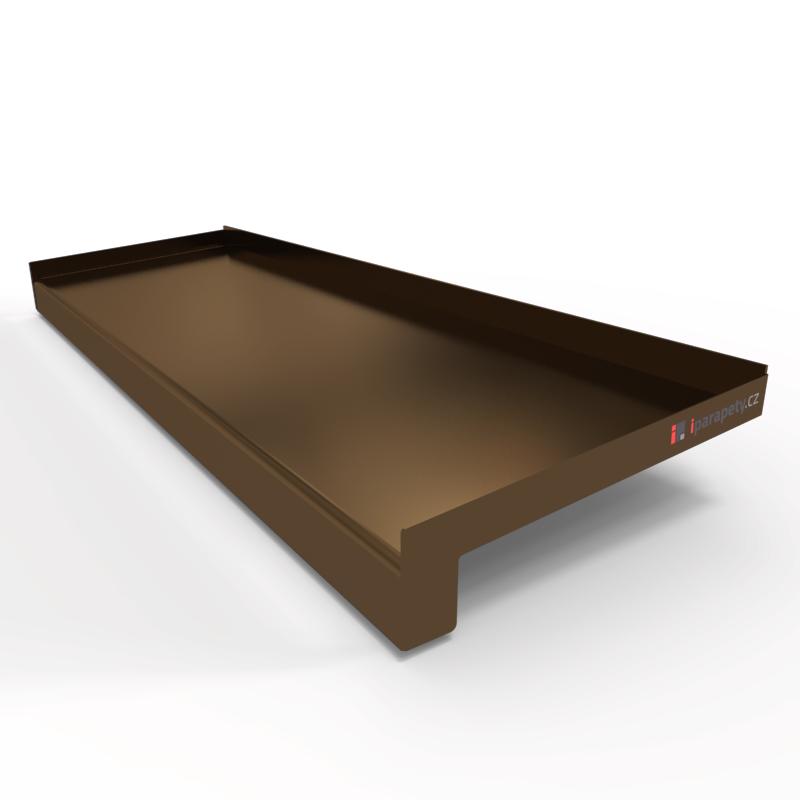 Venkovní parapet hliník ohýbaný 195 mm, tl. 0,8 mm, nos 25 mm, Bronz