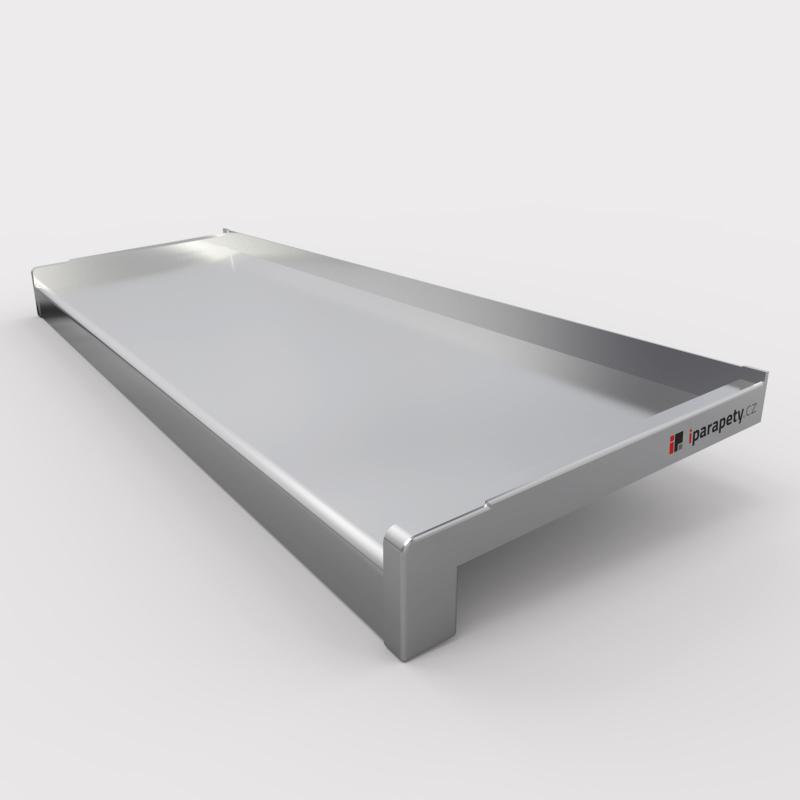 Venkovní parapet hliník tažený 50 mm, tl. 1,2 - 2,8 mm, nos 40 mm, Stříbrný Elox