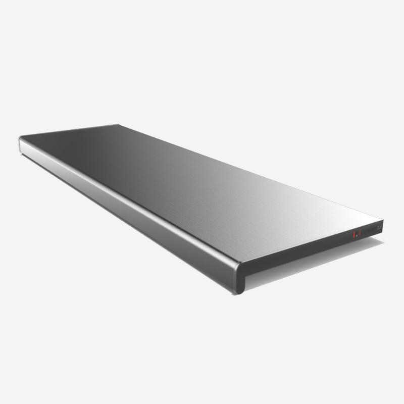 Vnitřní parapet PVC 150 mm, nos 40 mm, Stříbrná