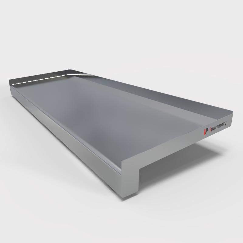 Venkovní parapet hliník ohýbaný 110 mm, tl. 0,8 mm, nos 25 mm, Stříbrný RAL 9006